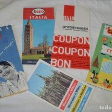 Mapas contemporáneos: ITALIA - LOTE GUÍAS DESPLEGABLES, MÓBIL, ESSO Y OTROS - FINALES DE LOS AÑOS 50 - BUEN ESTADO ¡MIRA!. Lote 174384404