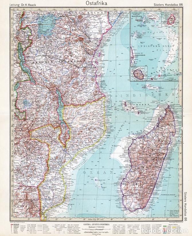 Mapa Grabado Cobre De Africa Oriental Tangan Buy Contemporary