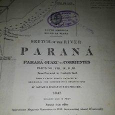 Mapas contemporáneos: ANTIGUA CARTA NÁUTICA PARANÁ GUAZÚ CORRIENTES ARGENTINA PAPEL ESPECIAL 53X70 CM AÑO 1847 1909. Lote 175720937