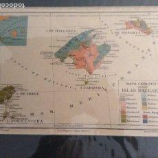 Mapas contemporáneos: MAPA GEOLÓGICO DE LAS BALEARES, MALLORCA, MENORCA, IBIZA, FORMENTERA, CABRERA. Lote 177816313