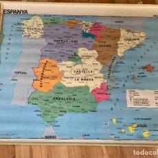 Mapas contemporáneos: GRAN MAPA ESCOLAR DE ESPANYA, DOBLE CARA. EN CATALÀ. MIDE 1,17 MTS X 95CMS ALTURA. Lote 177866897