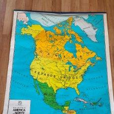 Mapas contemporáneos: GRAN MAPA ESCOLAR DE AMERICA DEL NORTE. DOBLE CARA. MIDE 1,18MTS X 96CMS. Lote 177867945