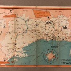 Mapas contemporáneos: ANTIGUO MAPA DE LA PROVINCIA DE TARRAGONA, CON PLANO DE LA CIUDAD AL DORSO. DESPLEGABLE. Lote 177875140