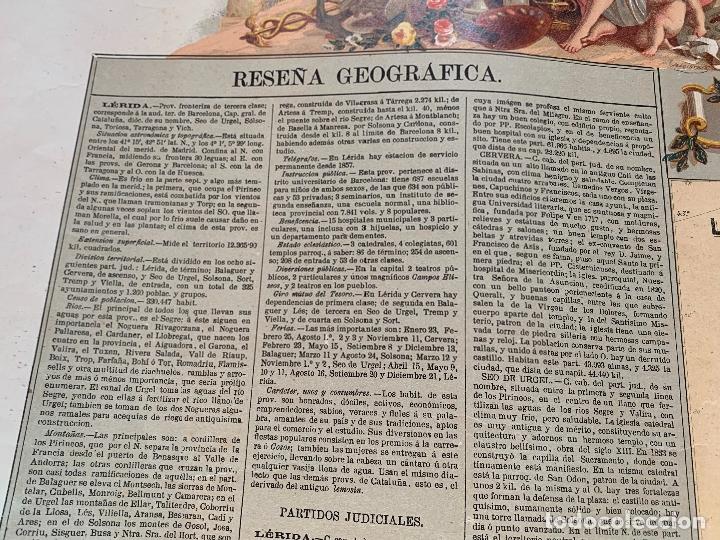 Mapas contemporáneos: Precioso antiguo mapa Prov. Lerida, numerado, Lleida. Reseña geografica e historica.1a edicion. - Foto 2 - 177983882