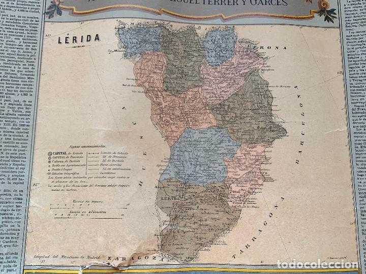 Mapas contemporáneos: Precioso antiguo mapa Prov. Lerida, numerado, Lleida. Reseña geografica e historica.1a edicion. - Foto 6 - 177983882