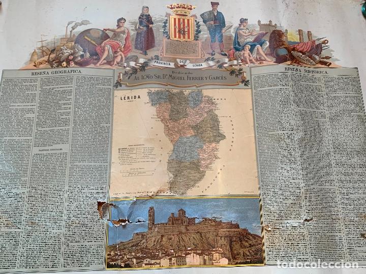 Mapas contemporáneos: Precioso antiguo mapa Prov. Lerida, numerado, Lleida. Reseña geografica e historica.1a edicion. - Foto 15 - 177983882