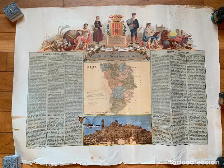 PRECIOSO ANTIGUO MAPA PROV. LERIDA, NUMERADO, LLEIDA. RESEÑA GEOGRAFICA E HISTORICA.1A EDICION. (Coleccionismo - Mapas - Mapas actuales (desde siglo XIX))