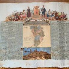 Mapas contemporáneos: PRECIOSO ANTIGUO MAPA PROV. LERIDA, NUMERADO, LLEIDA. RESEÑA GEOGRAFICA E HISTORICA.1A EDICION.. Lote 177983882