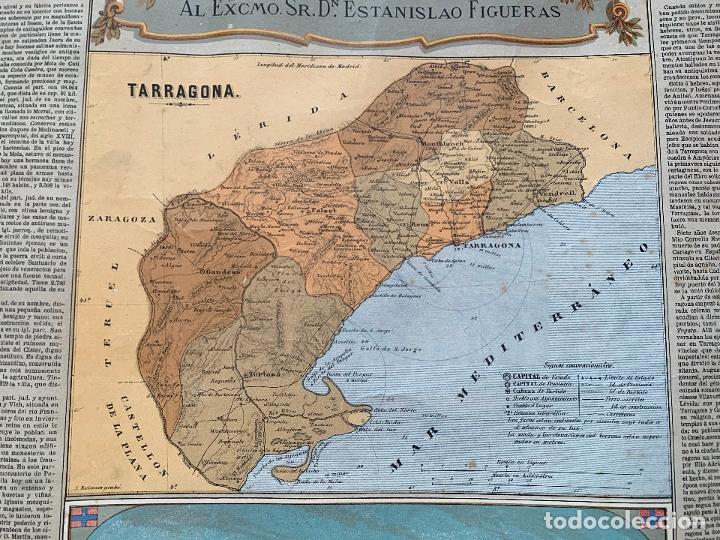 Mapas contemporáneos: Precioso antiguo mapa Prov. Tarragona, numerado, Reseña geografica e historica.1a edicion. - Foto 2 - 177986595
