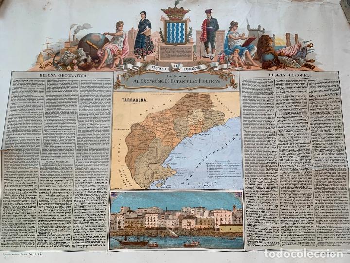 Mapas contemporáneos: Precioso antiguo mapa Prov. Tarragona, numerado, Reseña geografica e historica.1a edicion. - Foto 3 - 177986595