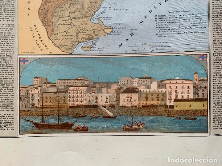 Mapas contemporáneos: Precioso antiguo mapa Prov. Tarragona, numerado, Reseña geografica e historica.1a edicion. - Foto 4 - 177986595