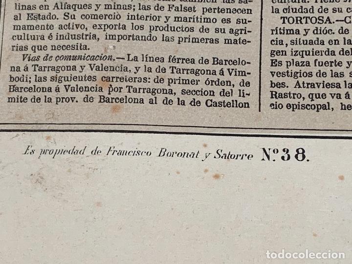 Mapas contemporáneos: Precioso antiguo mapa Prov. Tarragona, numerado, Reseña geografica e historica.1a edicion. - Foto 6 - 177986595