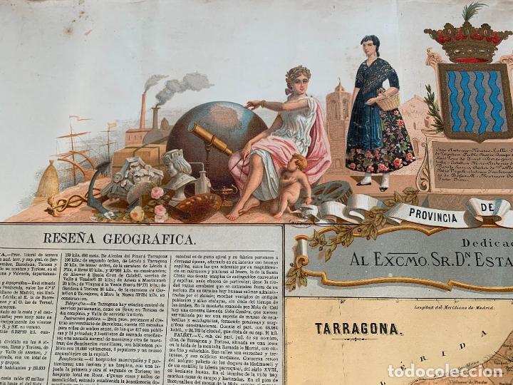 Mapas contemporáneos: Precioso antiguo mapa Prov. Tarragona, numerado, Reseña geografica e historica.1a edicion. - Foto 8 - 177986595