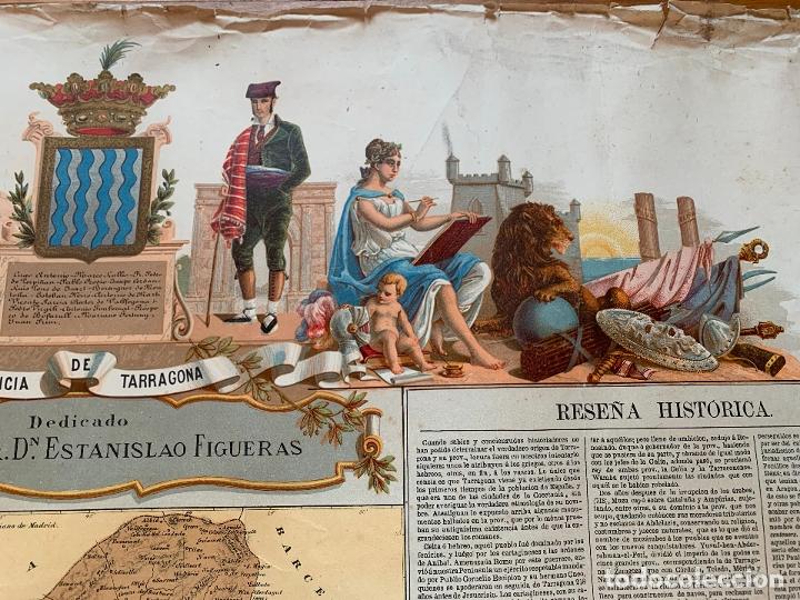 Mapas contemporáneos: Precioso antiguo mapa Prov. Tarragona, numerado, Reseña geografica e historica.1a edicion. - Foto 9 - 177986595