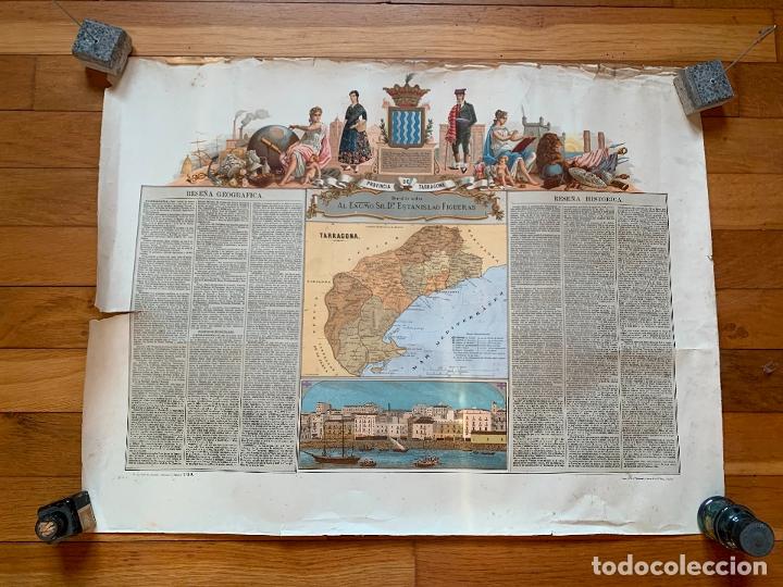 PRECIOSO ANTIGUO MAPA PROV. TARRAGONA, NUMERADO, RESEÑA GEOGRAFICA E HISTORICA.1A EDICION. (Coleccionismo - Mapas - Mapas actuales (desde siglo XIX))
