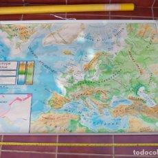 Mapas contemporáneos: GRAN MAPA MURAL FÍSICO Y POLÍTICO EUROPA BASICA, DECORACIÓN COLEGIO ESCUELA VICENS VIVES 1984. Lote 178037495