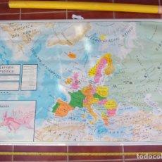 Mapas contemporáneos: GRAN MAPA MURAL FÍSICO Y POLÍTICO EUROPA BASICA, DECORACIÓN COLEGIO ESCUELA VICENS VIVES 1984. Lote 178038039