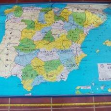 Mapas contemporáneos: GRAN MAPA MURAL FÍSICO Y POLÍTICO ESPAÑA, DECORACIÓN COLEGIO ESCUELA DALMAU CARLES PLA 1985. GERONA. Lote 178039602