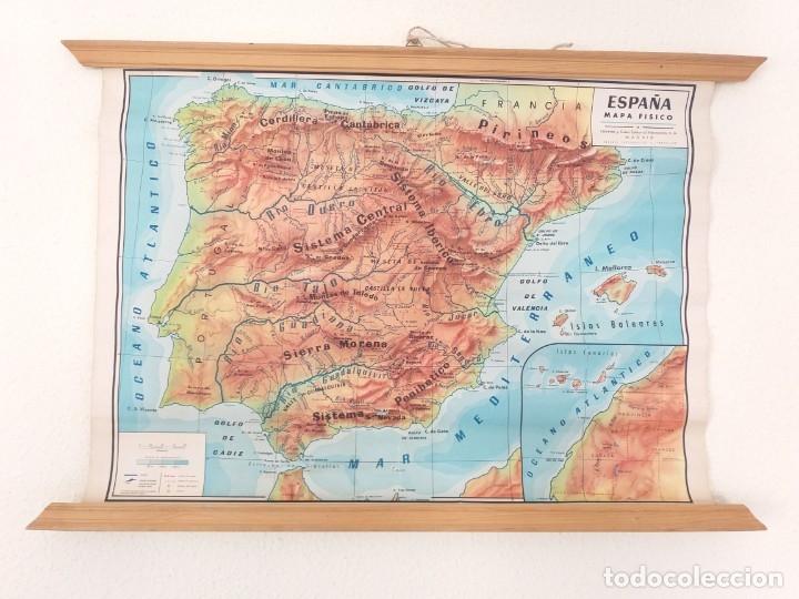 ANTIGUO MAPA ESCOLAR FÍSICO ESPAÑA DE PARED. AÑO 1959. LIBRERÍA Y CASA EDITORIAL HERNANDO. MADRID (Coleccionismo - Mapas - Mapas actuales (desde siglo XIX))
