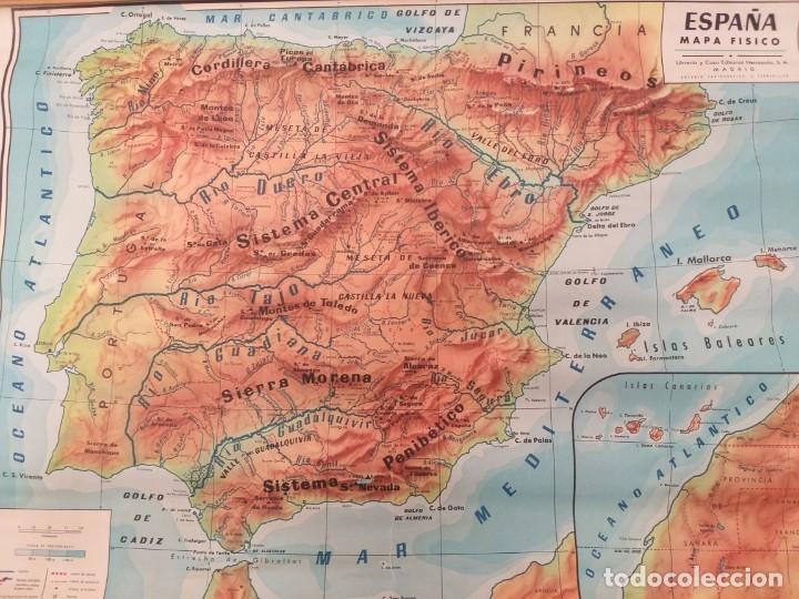 Mapas contemporáneos: ANTIGUO MAPA ESCOLAR FÍSICO ESPAÑA DE PARED. AÑO 1959. LIBRERÍA Y CASA EDITORIAL HERNANDO. MADRID - Foto 2 - 178354958