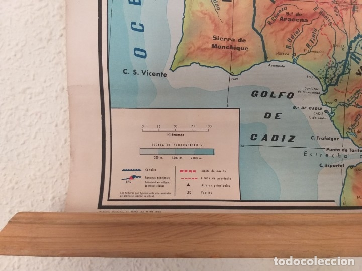 Mapas contemporáneos: ANTIGUO MAPA ESCOLAR FÍSICO ESPAÑA DE PARED. AÑO 1959. LIBRERÍA Y CASA EDITORIAL HERNANDO. MADRID - Foto 4 - 178354958