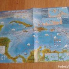 Mapas contemporáneos: MAPA MONOGRÁFICO - 3 SIGLOS EN LA HISTORIA DEL CARIBE - JOHN HAWKINS, HERRY MORGAN, FRANCIS DRAKE. Lote 178371877