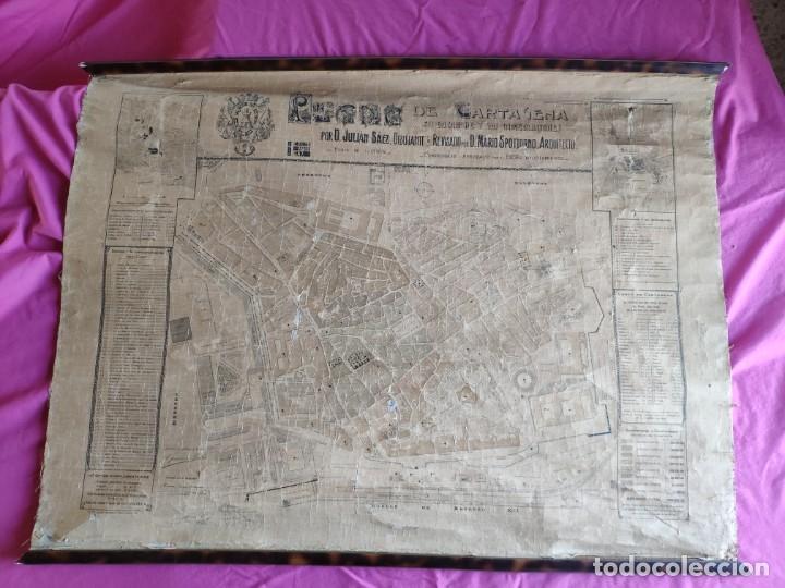 PLANO DE CARTAGENA SUS ENSANCHES Y MEDIDAS PRINCIPIOS SIGLO XX - 1000-087 (Coleccionismo - Mapas - Mapas actuales (desde siglo XIX))