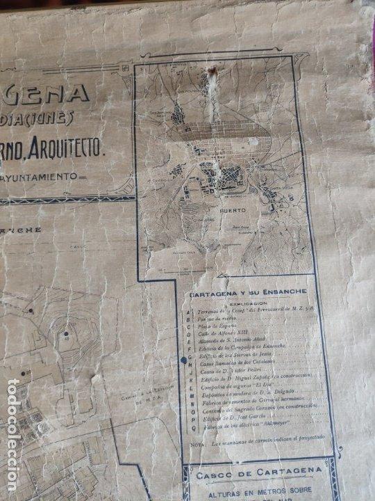 Mapas contemporáneos: PLANO DE CARTAGENA SUS ENSANCHES Y MEDIDAS PRINCIPIOS SIGLO XX - 1000-087 - Foto 11 - 61551835
