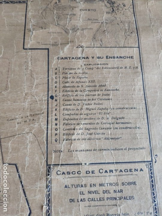 Mapas contemporáneos: PLANO DE CARTAGENA SUS ENSANCHES Y MEDIDAS PRINCIPIOS SIGLO XX - 1000-087 - Foto 12 - 61551835
