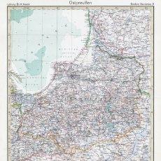 Mapas contemporáneos: MAPA (GRABADO COBRE) DE PRUSIA ORIENTAL (ALEMANIA). STIELERS HAND-ATLAS, EDICIÓN CENTENARIO 1931. Lote 179004996