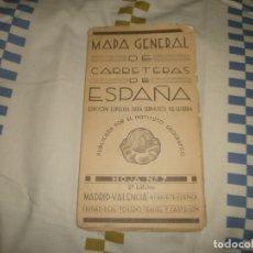 Mapas contemporáneos: ANTIGUO MAPA GENERAL DE CARRETERAS DE ESPAÑA: MADRID-VALENCIA. Lote 180154630
