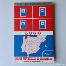 Mapas contemporáneos: MAPA DE CARRETERAS TURISMAP - PROVINCIA DE LUGO - AÑO 1972. Lote 180439606