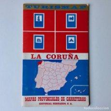 Mapas contemporáneos: MAPA DE CARRETERAS TURISMAP - PROVINCIA DE LA CORUÑA - AÑO 1971. Lote 180439693