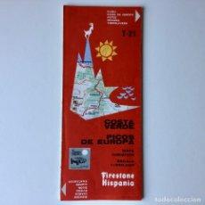 Mapas contemporáneos: MAPA TURISTICO FIRESTONE HISPANIA - COSTA VERDE PICOS DE EUROPA - AÑO 1976 - CON PLANOS DE SANTANDER. Lote 180445118