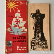 Mapas contemporáneos: MAPA TURISTICO FIRESTONE HISPANIA - COSTA DE LA LUZ COSTAS COLOMBINAS - AÑO 1967 + FOLLETO GUIA. Lote 180445473