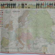 Mapas contemporáneos: NUEVO MAPA DE EUROPA POLITICO Y COMERCIAL ILUSTRADO CON UNIFORMES MILITARES EUROPEOS, INDICANDO LAS . Lote 180454782