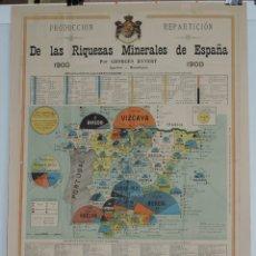Mapas contemporáneos: MAPA DE LAS RIQUEZAS MINERALES DE ESPAÑA 1900, POR GEORGES HYVERT, INGENIERO Y MINERALOGISTA, IMP. L. Lote 180455913