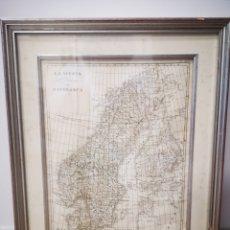Mapas contemporáneos: MAPA ORIGINAL REALIZADO EN ROMA , 1833, LA SVEZIA. LA NORVEGIA E DANIMARCA.. Lote 180456645