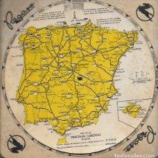 Mapas contemporáneos: MAPA DE LAS PRINCIPALES CARRETERAS DE ESPAÑA. PUBLICIDAD PEGASO. DISTANCIA EN KM.ENTRE PUNTOS NEGROS. Lote 182052537