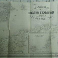 Mapas contemporáneos: MAPA AÑO 1865 SUDESTE ESPAÑA. LAS PALMAS, IBIZA. ALICANTE ALMERIA MURCIA CARTAGENA 64 X88 CM. Lote 182997853