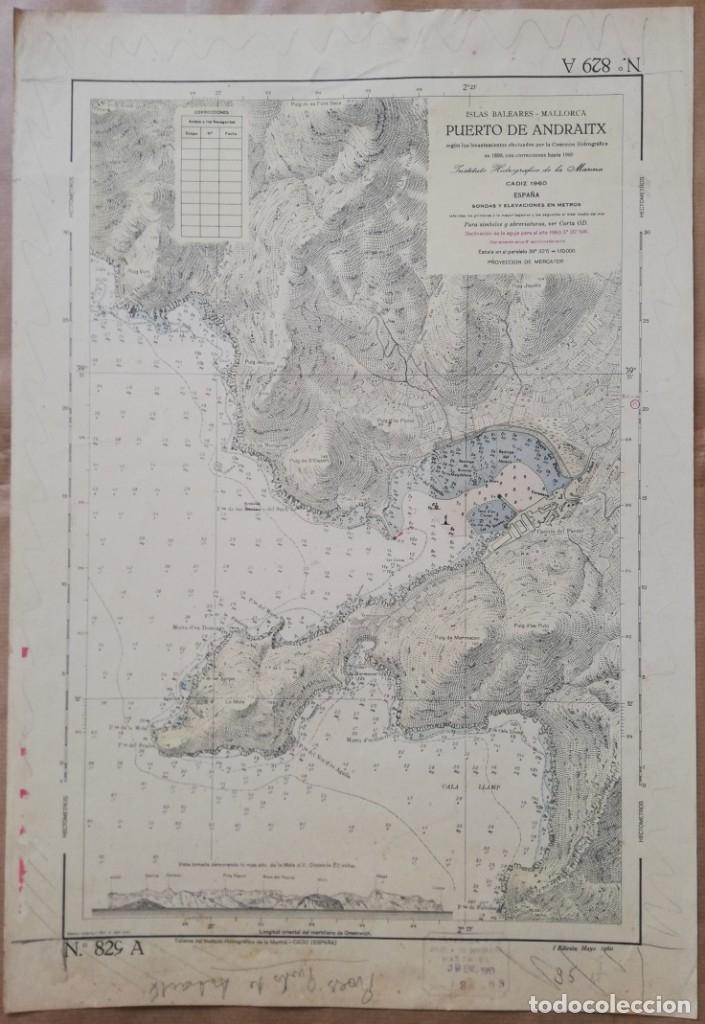 MAPA PUERTO DE ANDRATX (MALLORCA) INS. HIDROGRÁFICO DE LA MARINA. CADIZ 1890 CON CORRECCIONES 1960 (Coleccionismo - Mapas - Mapas actuales (desde siglo XIX))