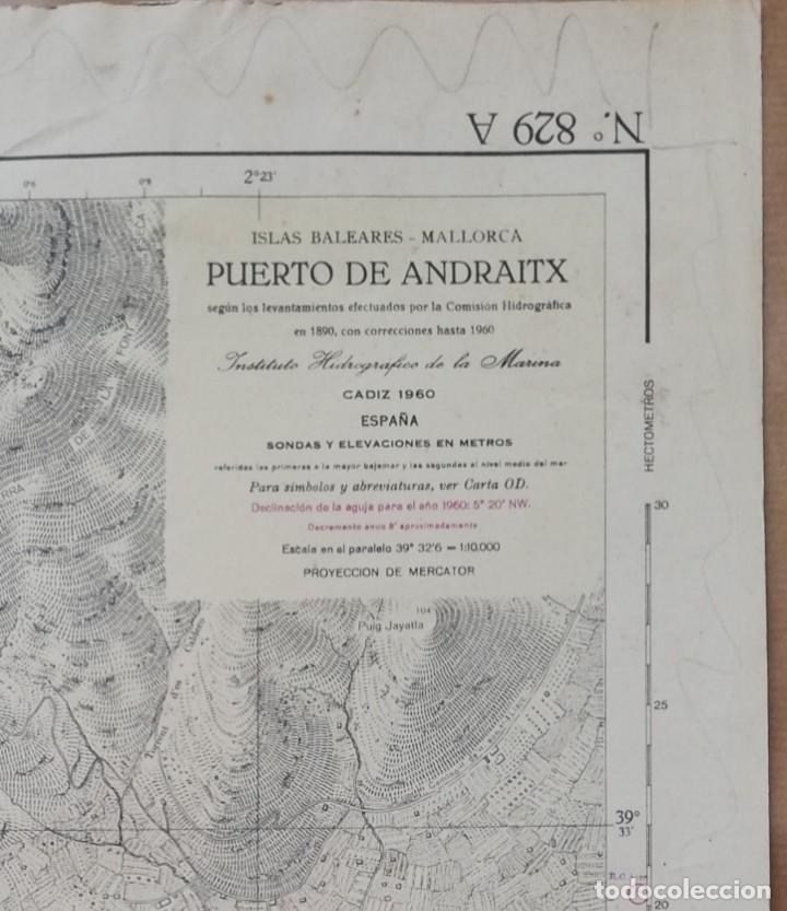 Mapas contemporáneos: Mapa Puerto de Andratx (MALLORCA) Ins. Hidrográfico de la Marina. Cadiz 1890 con correcciones 1960 - Foto 2 - 183177118