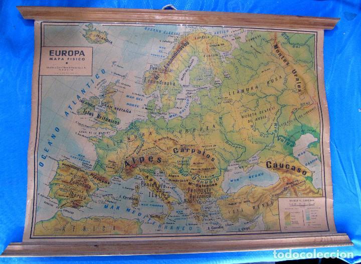 EUROPA MAPA FÍSICO. MAPA ESCOLAR. LIBRERÍA Y CASA EDITORIAL HERNANDO. MADRID, 1960. (Coleccionismo - Mapas - Mapas actuales (desde siglo XIX))
