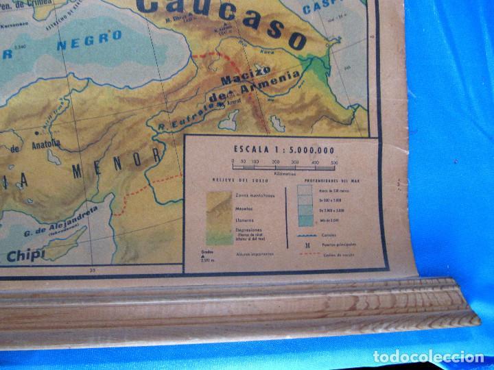 Mapas contemporáneos: EUROPA MAPA FÍSICO. MAPA ESCOLAR. LIBRERÍA Y CASA EDITORIAL HERNANDO. MADRID, 1960. - Foto 3 - 184636902