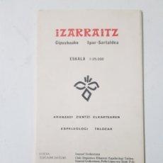 Mapas contemporáneos: ARANZADI PLANO IZARRAITZ IMANOL GOIKOETXEA 1983. Lote 186099357