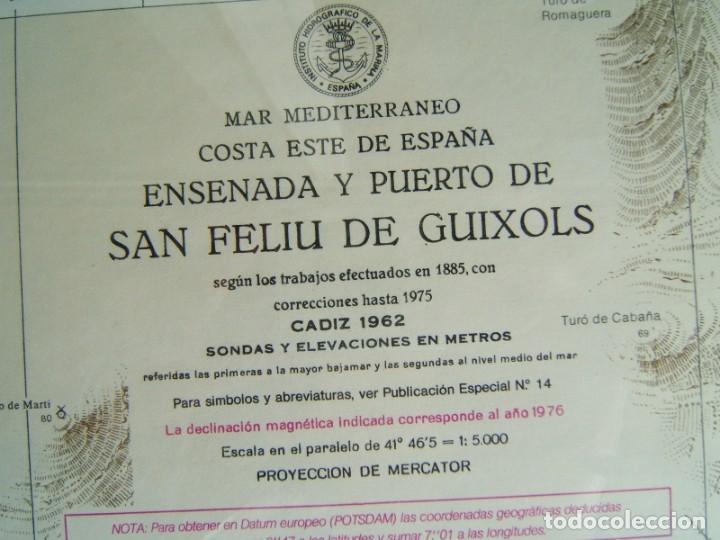 MAPA ENSENADA Y PUERTO SAN FELIU DE GUIXOLS-MARCO Y VIDRIO-COSTA ESTE ESPAÑA-MAR MEDITERRANEO-1981. (Coleccionismo - Mapas - Mapas actuales (desde siglo XIX))