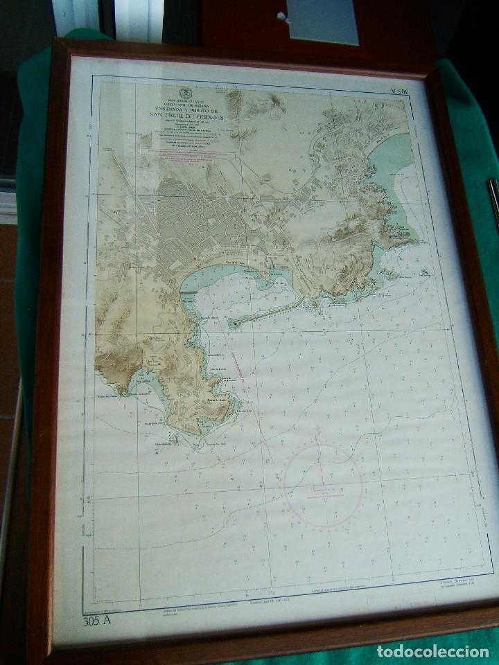 Mapas contemporáneos: MAPA ENSENADA Y PUERTO SAN FELIU DE GUIXOLS-MARCO Y VIDRIO-COSTA ESTE ESPAÑA-MAR MEDITERRANEO-1981. - Foto 2 - 186138458