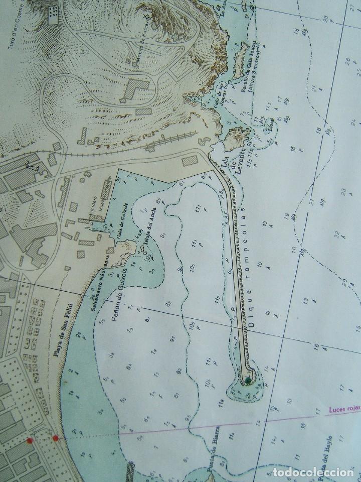 Mapas contemporáneos: MAPA ENSENADA Y PUERTO SAN FELIU DE GUIXOLS-MARCO Y VIDRIO-COSTA ESTE ESPAÑA-MAR MEDITERRANEO-1981. - Foto 4 - 186138458