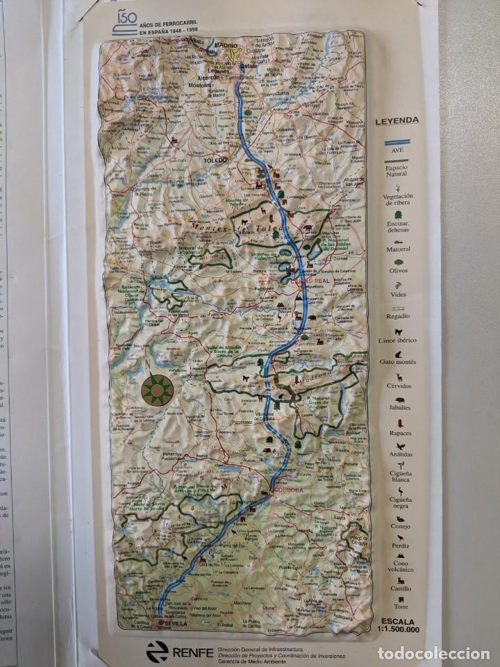 Mapas contemporáneos: 1997 RENFE FERROCARRILES MAPA PLASTICO EN RELIEVE LINEA ALTA VELOCIDAD MADRID SEVILLA - Foto 2 - 190338395