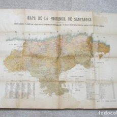 Mapas contemporáneos: MAPA DE CANTABRIA SANTANDER 1898. LIT. VDA. DE FONS, CON CARPETA DE CARTÓN ESTAMPADO EN ORO. Lote 190738337